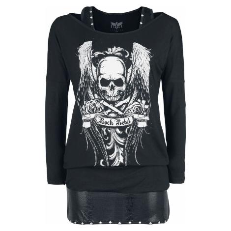 Rock Rebel by EMP Schwarzes Langarmshirt mit Print und Top mit Nieten dívcí triko s dlouhými ruk