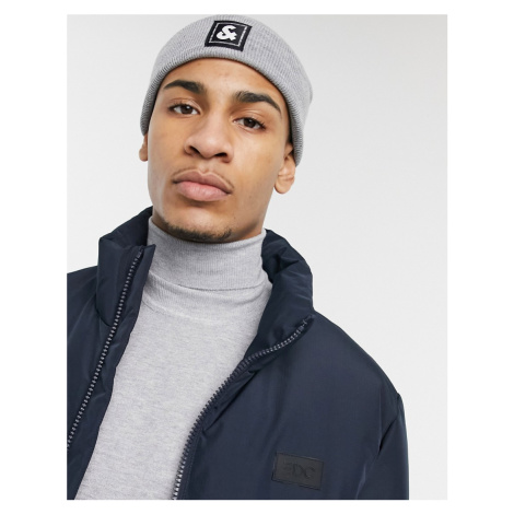 Jack & Jones logo beanie in grey-Black