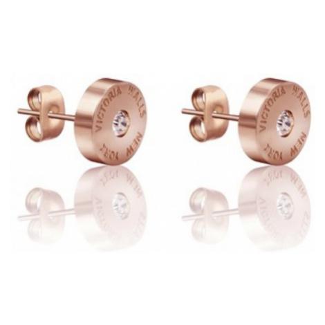 Victoria Walls Růžově pozlacené náušnice pecky VE1046R