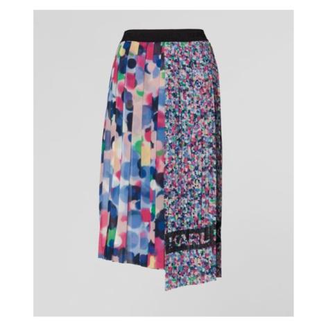 Sukně Karl Lagerfeld Asymmetrical Pleated Skirt - Různobarevná