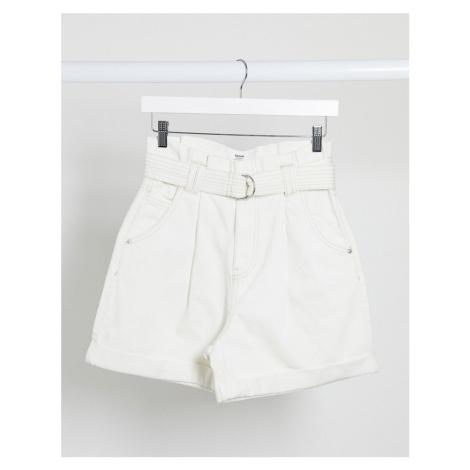 Bershka paper bag denim shorts in white
