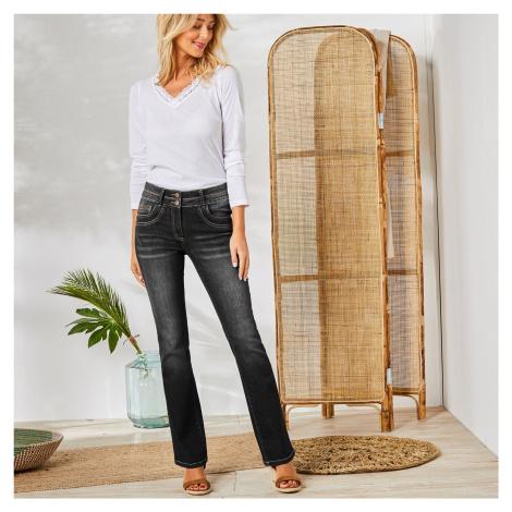 Blancheporte Strečové bootcut džíny v opraném vzhledu černá