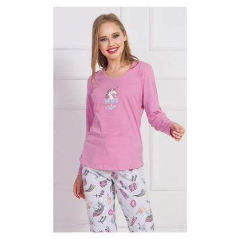 Dámské pyžamo dlouhé Dreams, XL, tyrkysová Vienetta Secret