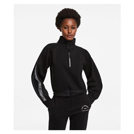 Mikina Karl Lagerfeld Double Jersey Cropped Sweat - Černá