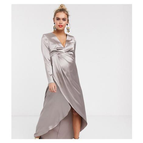 ASOS EDITION Maternity split side plunge maxi dress in satin-Silver