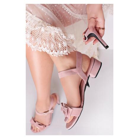 Světle růžové sandály s vyměnitelnými podpatky N ° 2 Rosie Nude + tenký podpatek 10cm