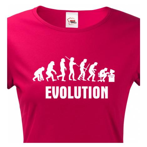 Dámské  tričko Evoluce IT - ideální dárek pro všechny Ajťáky BezvaTriko