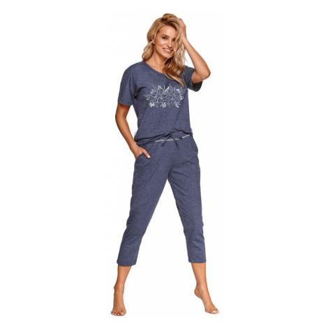 Dámské pyžamo Alexa tmavě modré s květy Taro
