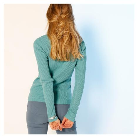 Blancheporte Žebrovaný pulovr se stojáčkem, délka cca 63 cm světle tyrkysová