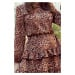 ROMI - Dámské šaty s panteřím vzorem a s volánky 285-1