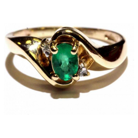 AutorskeSperky.com - 14 kt zlatý prsten se smaragdem a brilianty - S5147