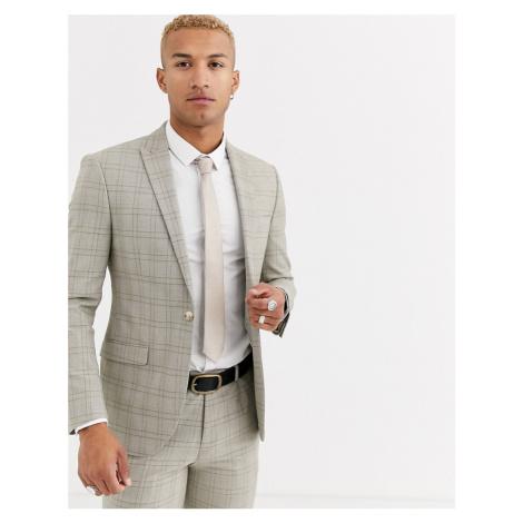 Topman slim suit jacket in stone check