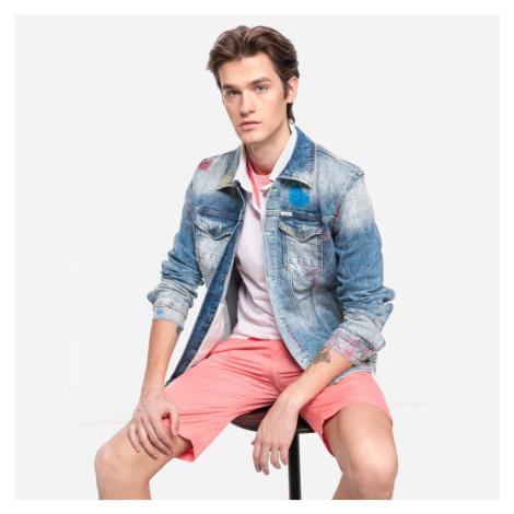 Guess pánská modrá džínová bunda s barevnými prvky