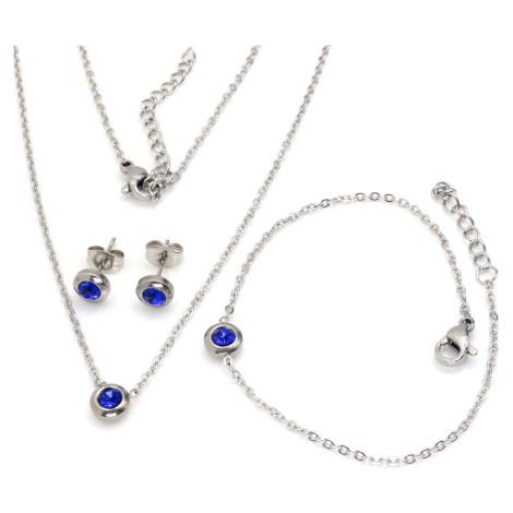Linda's Jewelry Sada šperků modrá Circle chirurgická ocel IS026