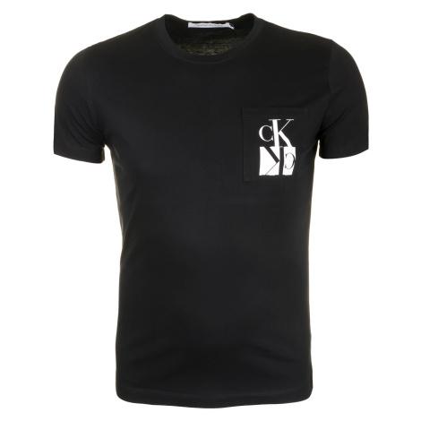 Pánské černé tričko s náprsní kapsou Calvin Klein