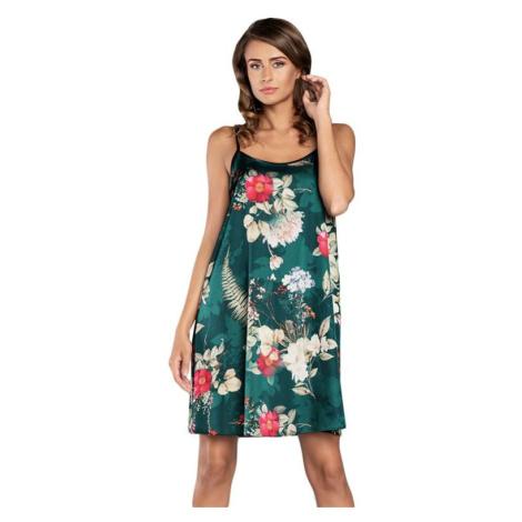 Saténová košilka Kreta zelená s květy Italian Fashion