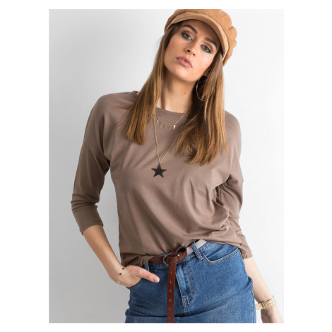 Basic brown blouse with 3/4 sleeves Fashionhunters