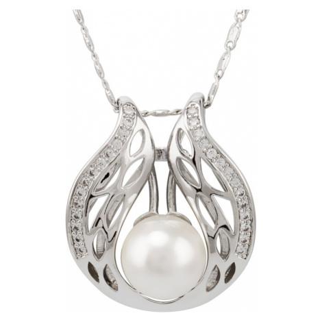Linda's Jewelry Náhrdelník bižuterie s perlou a zirkony INH002