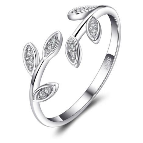 OLIVIE Stříbrný prsten VĚTVIČKA se zirkony 4887