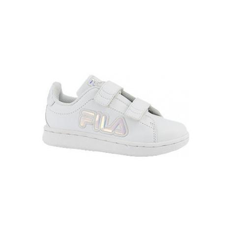 Bílé dětské tenisky na suchý zip Fila