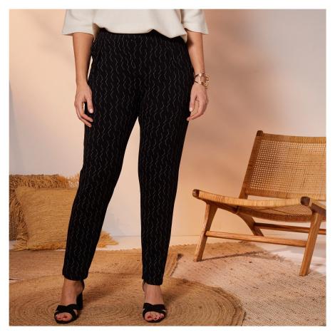 Blancheporte 7/8 kalhoty s grafickým designem černá/antracitová