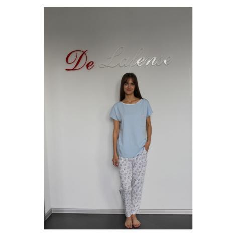 Dámské pyžamo 434 MARIBELL - krátké rukávy, dlouhé kalhoty modrá+bílé květy De Lafense