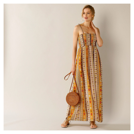 Blancheporte Dlouhé šaty se žabičkovaným hrudníkem režná/khaki