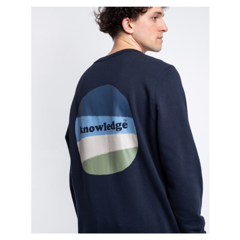 Knowledge Cotton Elm Basic Chest And Bag Print Sweat 1001 Total Eclipse