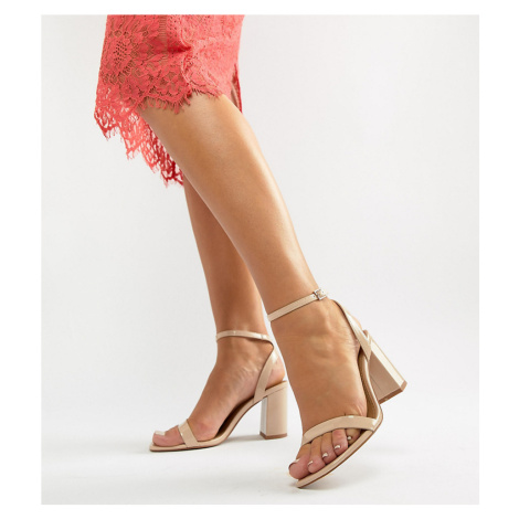 ASOS DESIGN Wide Fit Hong Kong Barely There Block Heeled Sandals in warm beige