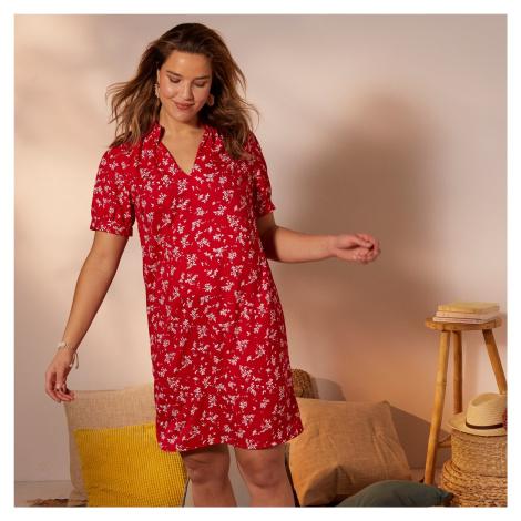 Blancheporte Šaty s potiskem květin a balonovými krátkými rukávy červená/bílá