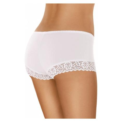 Bavlněné krajkové kalhotky s nohavičkou 55 bílé Gabidar