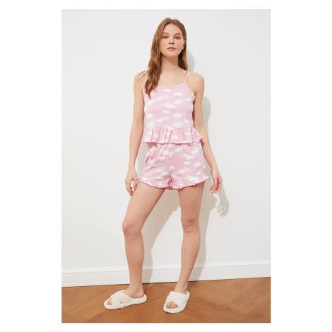 Trendyol Powder Printed Knitted Pajamas Set