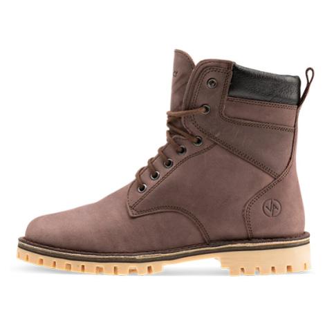 Vasky Farm High Dark Brown - Dámské kožené kotníkové boty hnědé, česká výroba