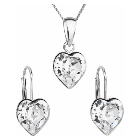 Sada šperků s krystaly Swarovski náušnice, řetízek a přívěsek bílé srdce 39141.1 Victum