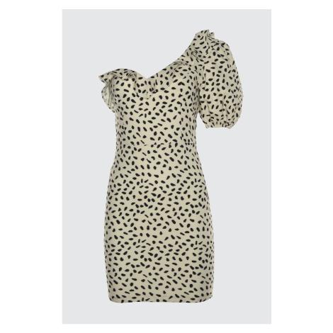 Trendyol Black and White Flywheal Detailed Dress