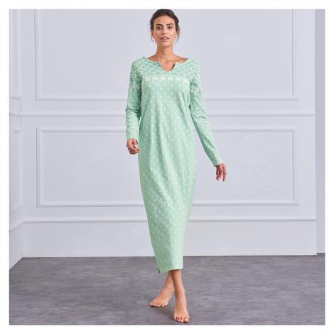 Blancheporte Dlouhá noční košile s dlouhými rukávy mořská zelená