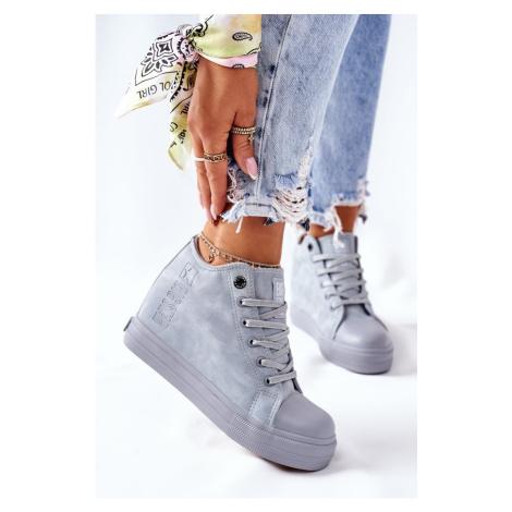Leather Wedge Sneakers Big Star II274094 Blue Kesi