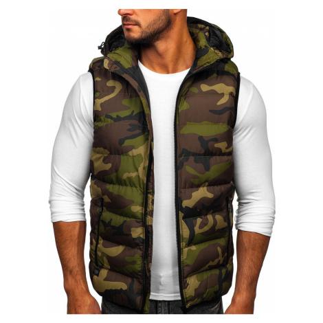 Khaki pánská prošívaná vesta s kapucí Bolf 6506 Nature