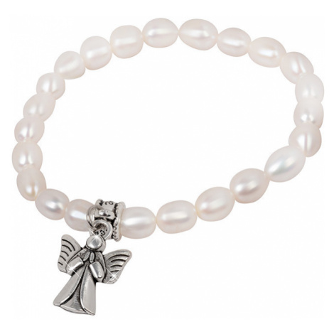 JwL Luxury Pearls Jemný náramek z pravých perel s kovovým andělíčkem JL0418