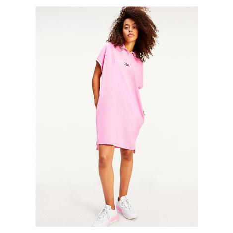 Tommy Hilfiger Tommy Jeans dámské růžové košilové šaty TJW MODERN LOGO POLO DRESS