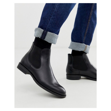 Selected Homme leather chelsea boots in black