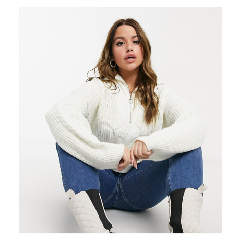 Fashion Union Plus jumper with half zip in cable knit-Cream