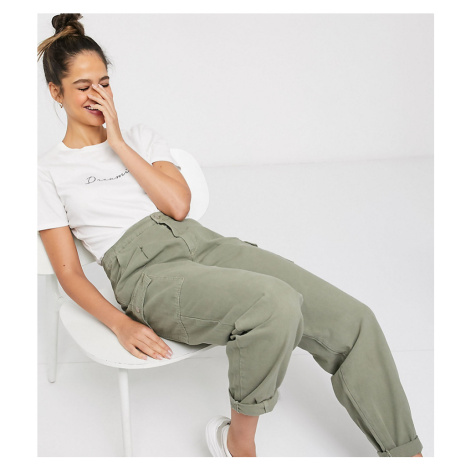New Look Tall balloon leg utility trousers in khaki-Green