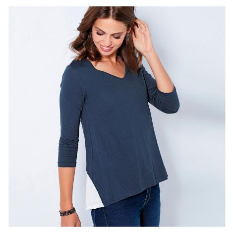 Tričko s kontrastní vsadkou a mašličkou námořnická modrá