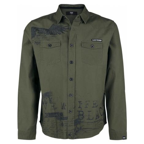 Black Premium by EMP olives Hemd mit Print und Brusttaschen košile olivová