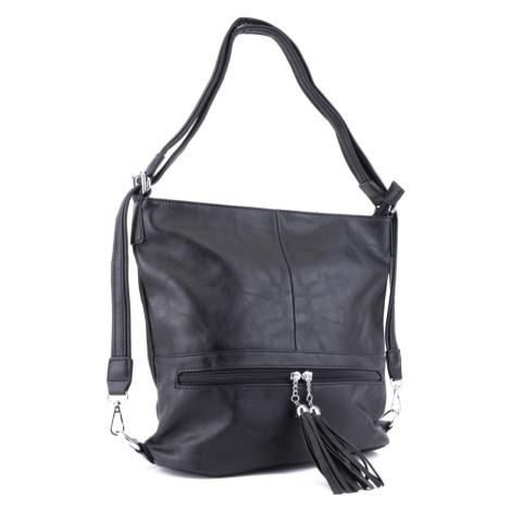 Černá dámská kombinace crossbody kabelky a batohu Sestie Mahel