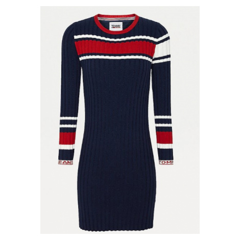 Tommy Hilfiger Tommy Jeans dámské tmavě modré šaty SWEATER DRESS