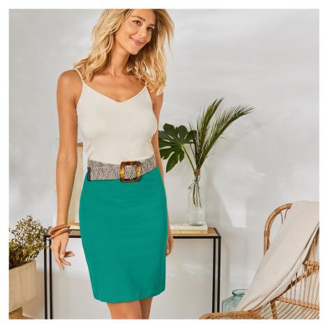 Blancheporte Rovná jednobarevná sukně mentolová