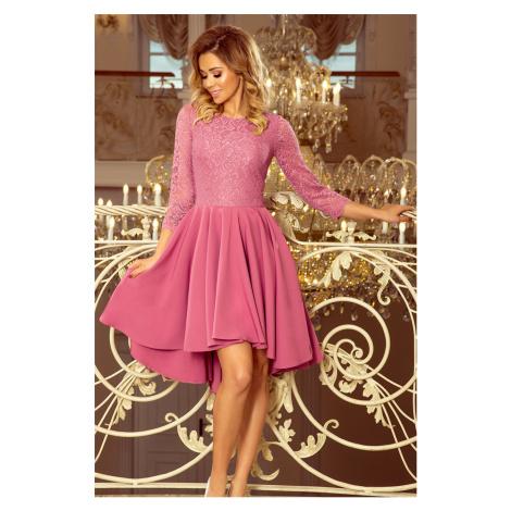 Dámské šaty v lila barvě s krajkou a delším zadním dílem model 7235195 NUMOCO