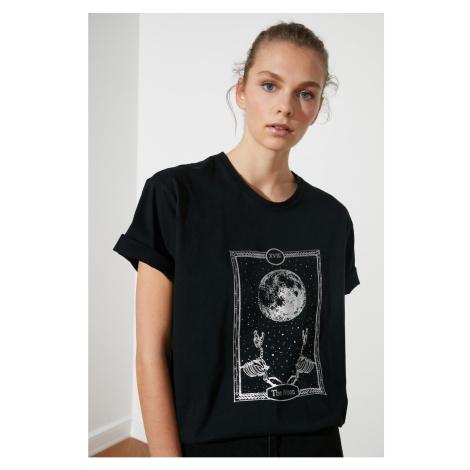 Trendyol Black Printed Boyfriend Knitted T-Shirt